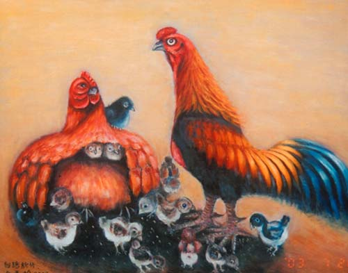 Yu Xiuxiong Oil painting works - rooster
