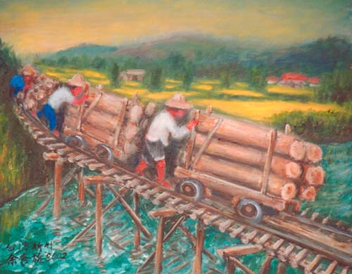 Yu Xiuxiong Oil painting works - transport wood
