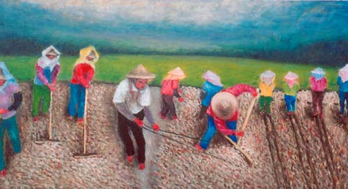 Yu Xiuxiong Oil painting works - paddy dry in the sun