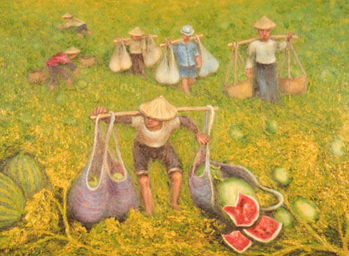 Yu Xiuxiong Oil painting works - watermelon Harvesting