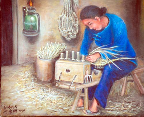 Yu Xiuxiong Oil painting works - Weaving bamboo